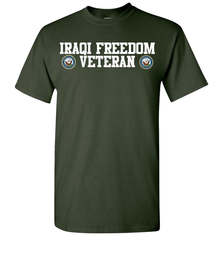 Iraqi Freedom Navy 2 White Short Sleeve T-Shirt - Green