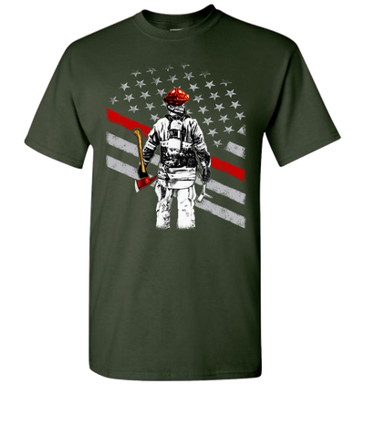 Firefighter Flag Short Sleeve T-Shirt - Green