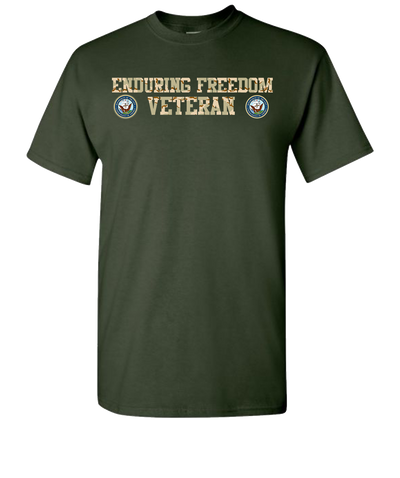 Enduring Freedom Navy 2 Camo Short Sleeve T-Shirt - Green