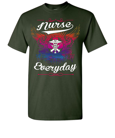 Nurse Earn There Wings Short Sleeve T-Shirt - Green