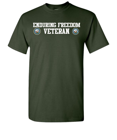 Enduring Freedom Navy 2 White Long Sleeve T-Shirt - Green