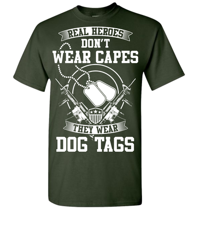 Real Heroes Dont Wear Capes Short Sleeve T-Shirt - Forest Green
