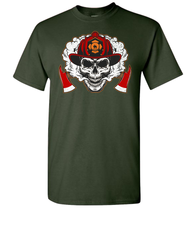Firefighter Skull Short Sleeve T-Shirt - Green