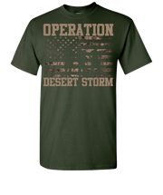 Desert Storm Flag and SIL with Words Short Sleeve T-Shirt - Green
