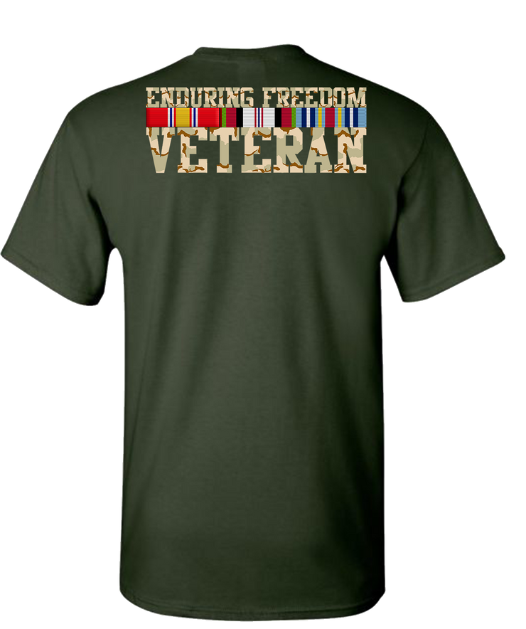 Endering Freedom Veteran with Ribbons Camo Short Sleeve T-Shirt - Green