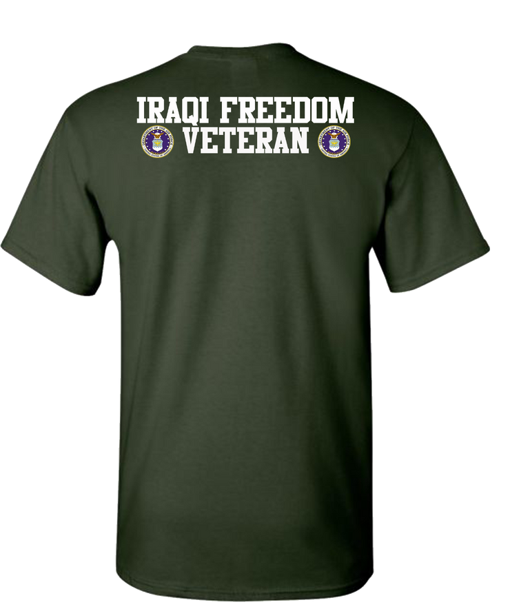 Iraqi Freedom Airforce 2 White Short Sleeve T-Shirt - Green