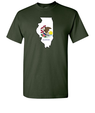 Illinois-Flag-Short-Sleeve-T-Shirt-Green