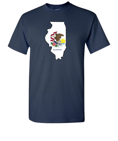 Illinois-Flag-Short-Sleeve-T-Shirt-Navy