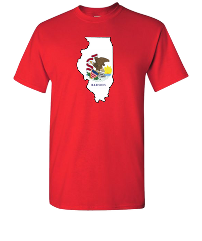 Illinois-Flag-Short-Sleeve-T-Shirt-Red