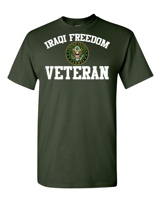 Iraqi Freedom Veteran Army White Short Sleeve T-Shirt - Green