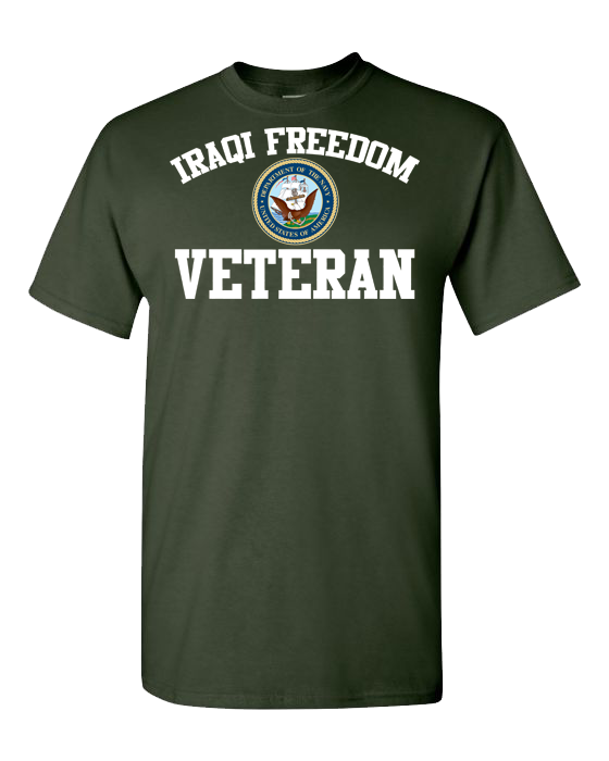 Iraqi Freedom Navy White Short Sleeve T-Shirt - Green