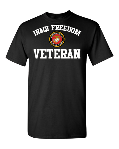 Iraqi Freedom Veteran USMC White Short Sleeve T-Shirt - Black