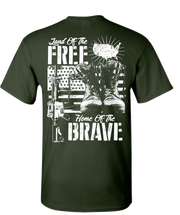 Land Of The Free Home Of The Brave Short Sleeve T-Shirt - Forest Green
