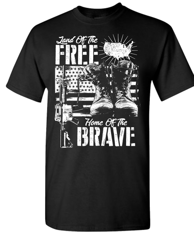Land Of The Free Home Of The Brave Short Sleeve T-Shirt - Black