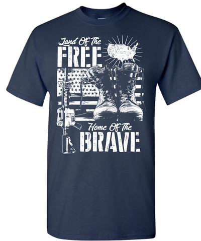 Land Of The Free Home Of The Brave Short Sleeve T-Shirt - Navy