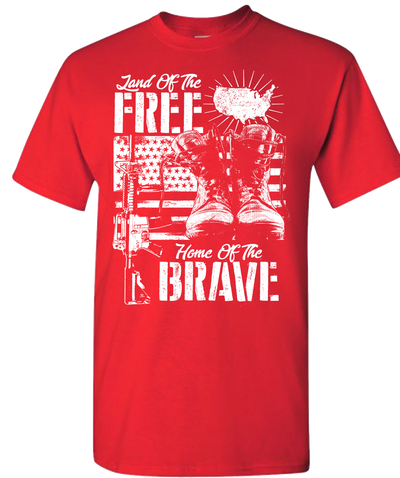 Land Of The Free Home Of The Brave Short Sleeve T-Shirt - Red