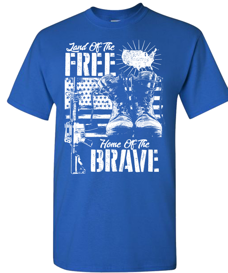 Land Of The Free Home Of The Brave Short Sleeve T-Shirt - Royal