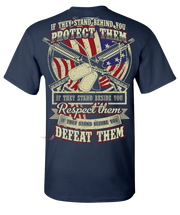Protect Respect Defeat Short Sleeve T-Shirt - Navy