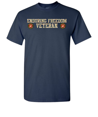 Enduring Freedom USMC 2 Camo Short Sleeve T-Shirt - Navy