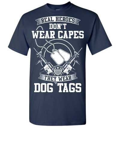 Real Heroes Dont Wear Capes Short Sleeve T-Shirt - Navy
