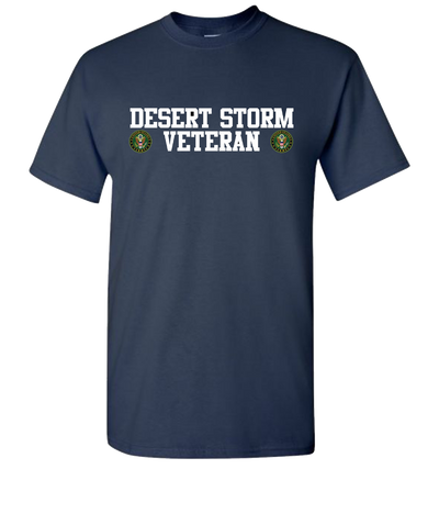 Desert Storm Vet Double White Army Short Sleeve T-Shirt - Navy