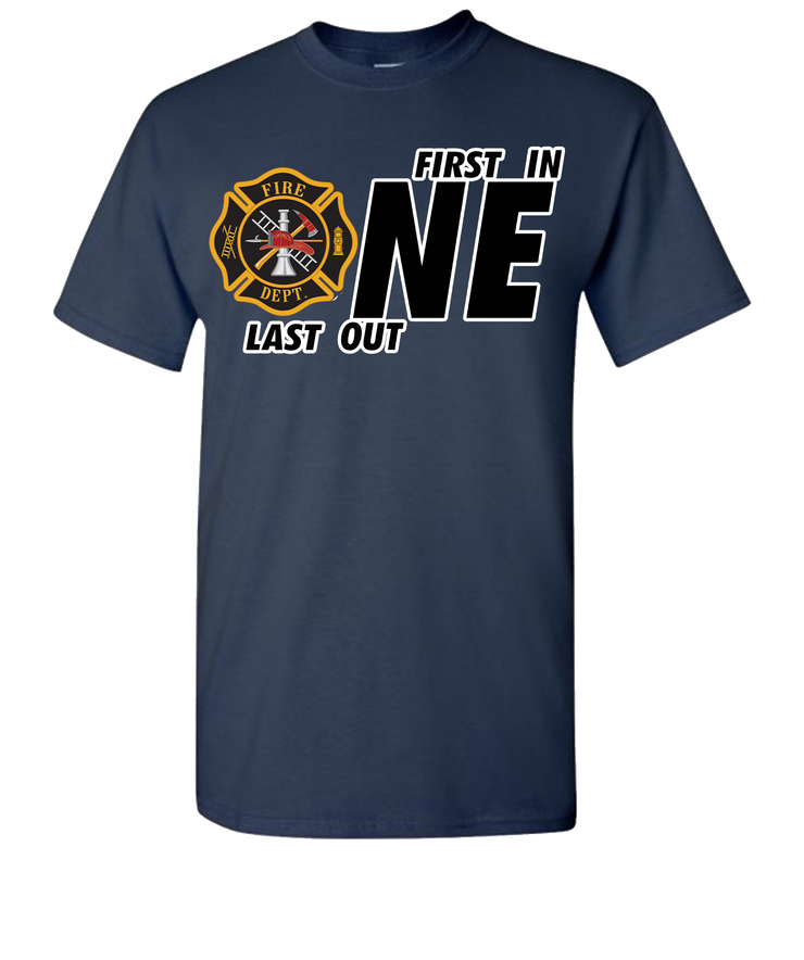 First One In Last One Out Fire Short Sleeve T-Shirt - Navy