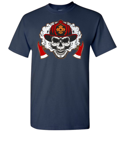 Firefighter Skull Short Sleeve T-Shirt - Navy