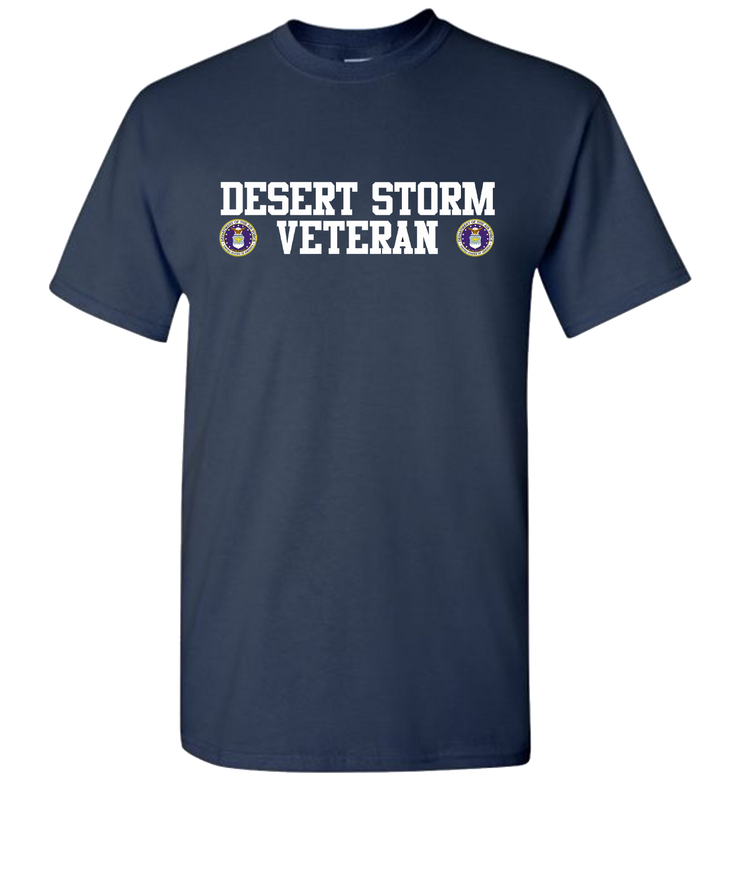 Desert Storm Vet Double White Air Force Short Sleeve T-Shirt - Navy