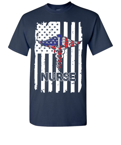 Nurse Flag Short Sleeve T-Shirt - Navy