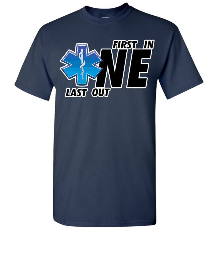 First One In Last One Out EMS Short Sleeve T-Shirt - Navy