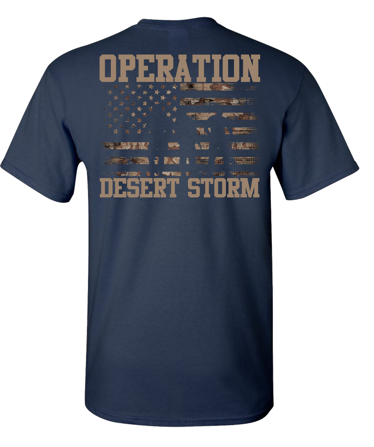 Desert Storm Flag and SIL with Words Short Sleeve T-Shirt - Navy