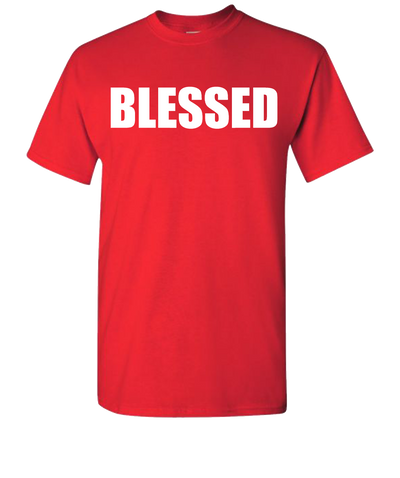 Blessed White Short Sleeve T-Shirt - Red