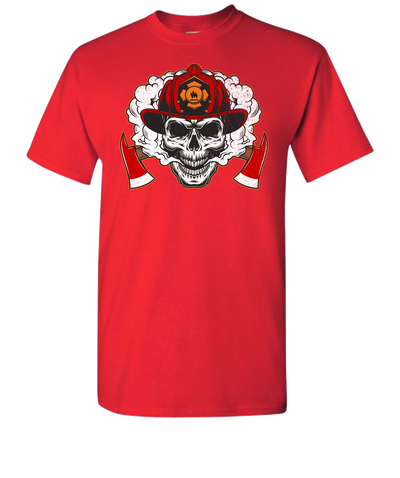 Firefighter Skull Short Sleeve T-Shirt - Red