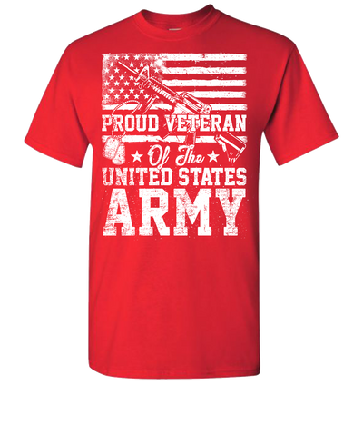 Proud Veteran Short Sleeve T-Shirt - Red