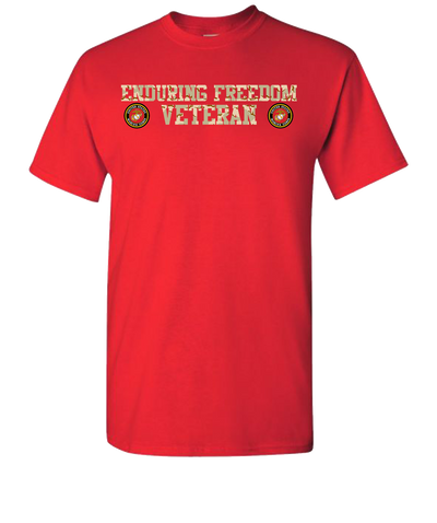 Enduring Freedom USMC 2 Camo Short Sleeve T-Shirt - Red