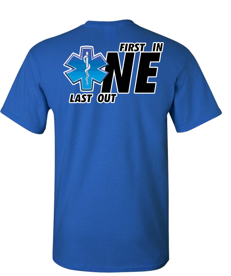 First One In Last One Out EMS Short Sleeve T-Shirt - Royal