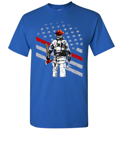 Firefighter Flag Short Sleeve T-Shirt - Royal