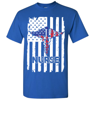 Nurse Flag Short Sleeve T-Shirt - Royal
