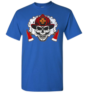 Firefighter Skull Short Sleeve T-Shirt - Royal