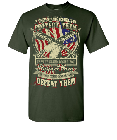 Protect Respect Defeat Short Sleeve T-Shirt - Forest Green