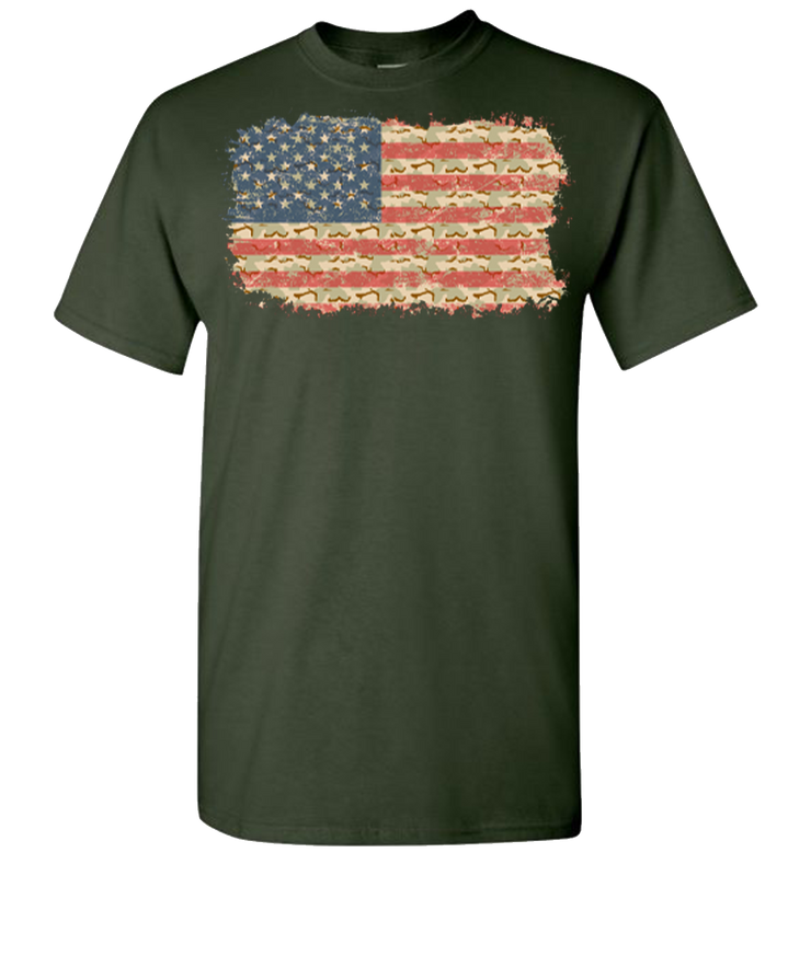Camo Flag 2 Short Sleeve T-Shirt - Green