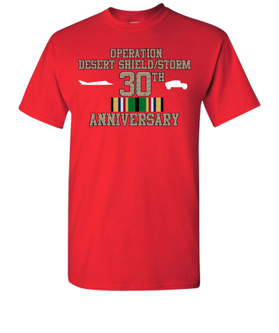 Operation Desert Storm/Shield 30th Anniversary Short Sleeve T-Shirt - Red