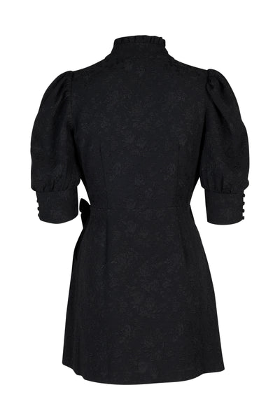Camille black short wrap dress