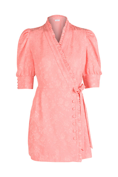 Camille vivid pink short wrap dress