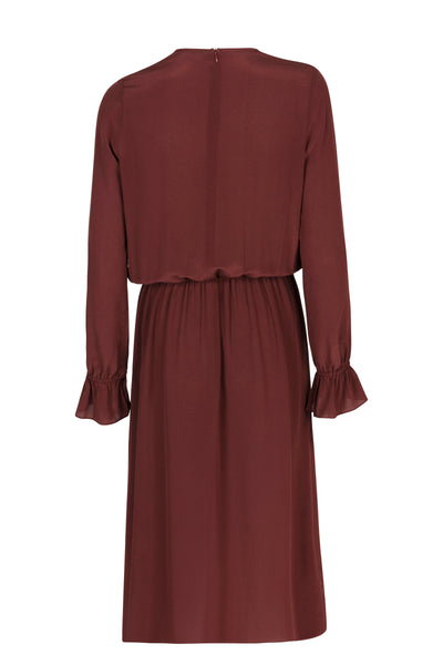 Gina silk dress wine