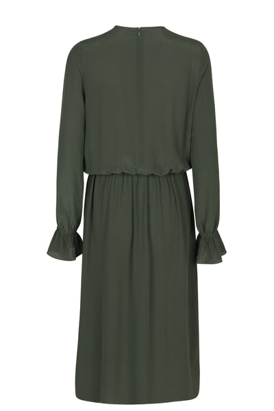 Gina silk dress moss