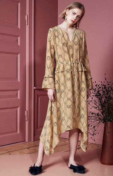 Merina silk dress bronze print