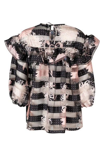 Emma Black Print Long Blouse