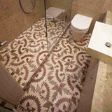 Patchwork encaustic tiles in bathroom