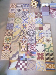 Patchwork encaustic tiles at Alhambra Tiles in London